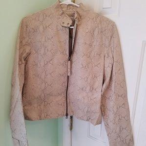 Women's Nine West leather snakeskin print jacket